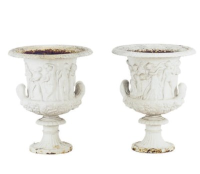 A PAIR OF PAINTED CAST-IRON RE