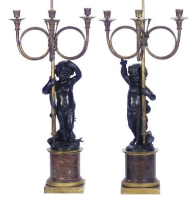 A PAIR OF FRENCH PATINATED AND
