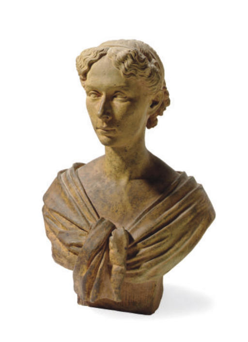 A TERRACOTTA BUST OF A GIRL,