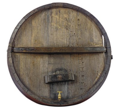 A FRENCH OAK WINE BARREL FACE,