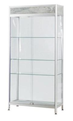 A POLISHED ALUMINUM AND GLASS