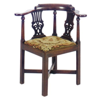 A GEORGE II WALNUT DESK CHAIR,