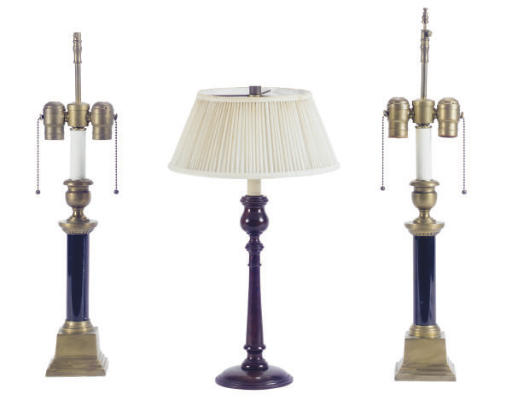 A PAIR OF BRASS AND BLACK MARB