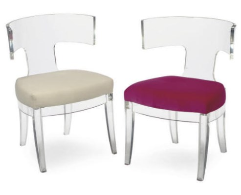 A PAIR OF LUCITE CHAIRS,