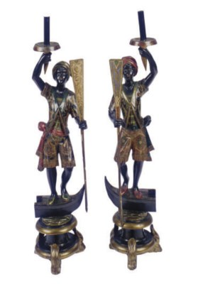 A PAIR OF POLYCHROME-PAINTED B