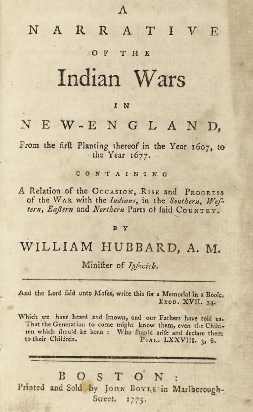 HUBBARD, William.  A Narrative