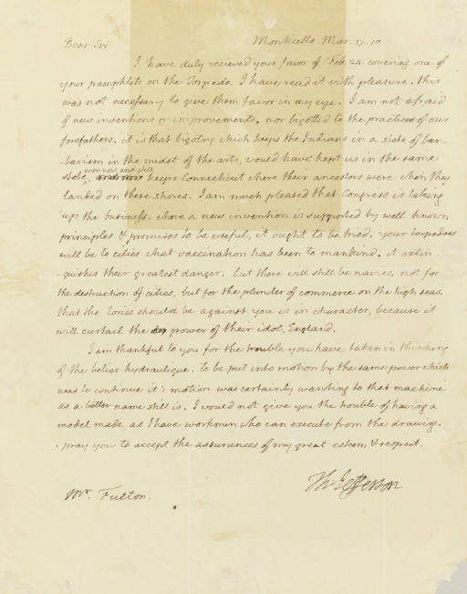 JEFFERSON, Thomas. Autograph l