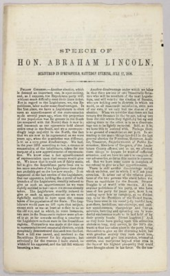 LINCOLN, Abraham. Speech of Ho