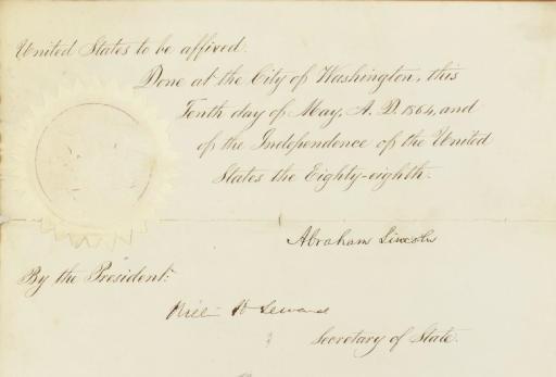 LINCOLN, Abraham, President. D