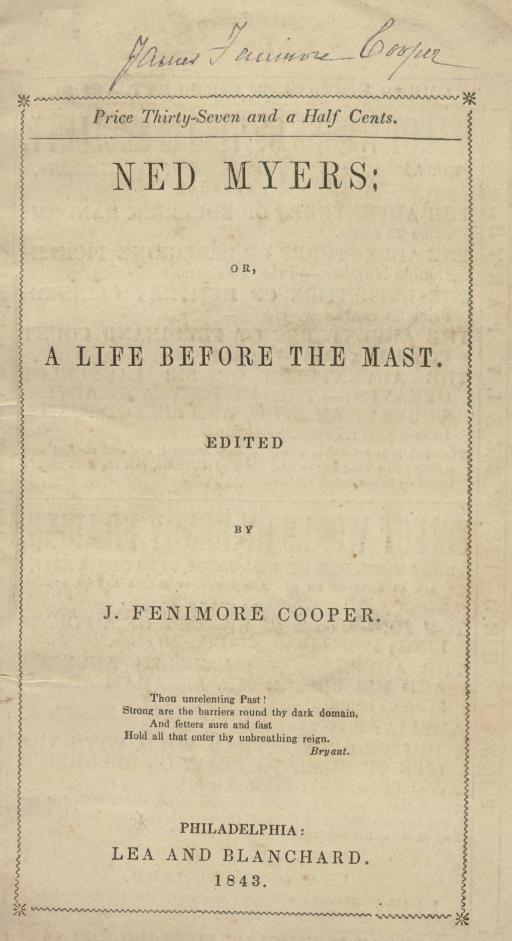 COOPER, James Fenimore. Ned My