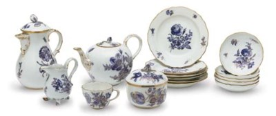 A MEISSEN PORCELAIN PART TEA A