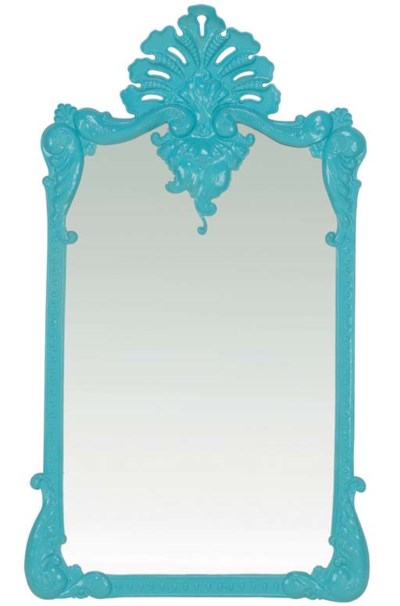 A TURQUOISE-PAINTED TIN MIRROR