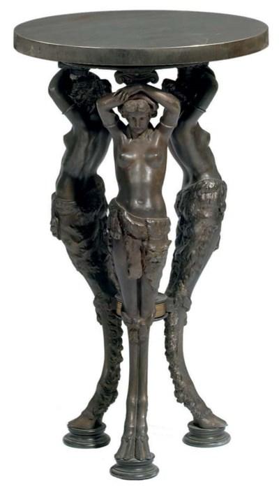 A pair of bronze-patinated met