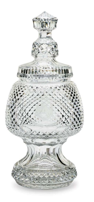 A WATERFORD CUT-GLASS FOOTED T