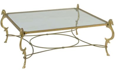 A BRASS AND GLASS LOW TABLE