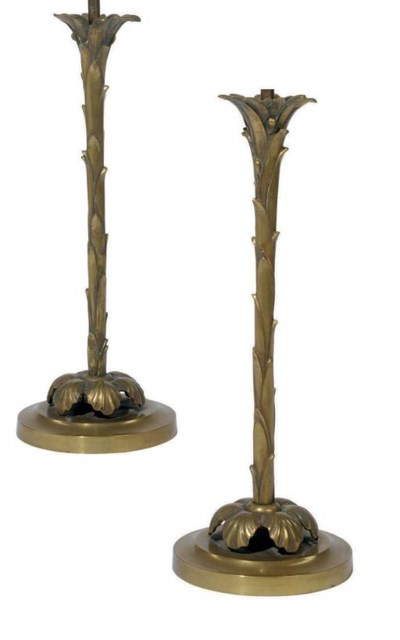 A PAIR OF BRASS PALM-FORM TABL