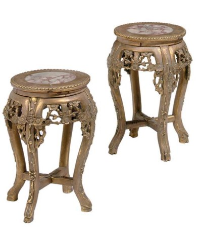 A PAIR OF CHINESE GILDED HARDW