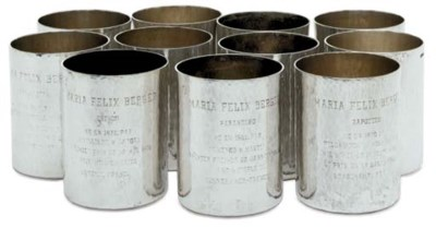 A SET OF ELEVEN SILVER BEAKERS