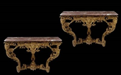 A PAIR OF REGENCE GILTWOOD CON