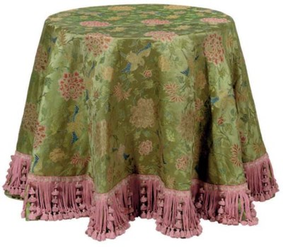 A SILK DAMASK GREEN AND POLYCH