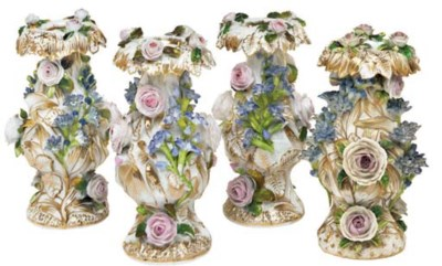 FOUR JACOB PETIT PORCELAIN FLO