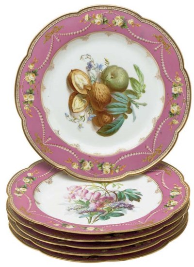SIX SEVRES STYLE PORCELAIN PIN