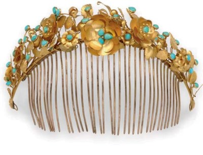 AN ANTIQUE TURQUOISE HAIR COMB