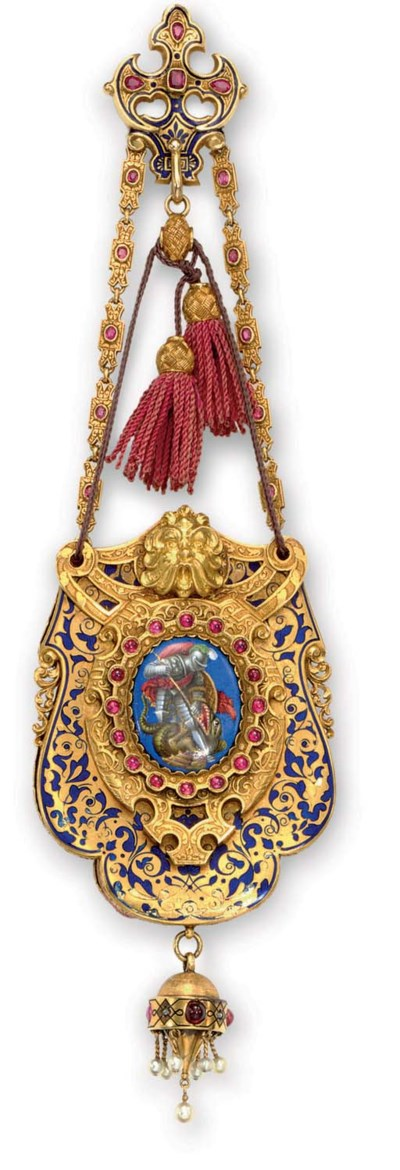 AN ANTIQUE GOLD, RUBY, ENAMEL