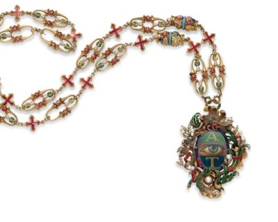 AN ENAMEL, CULTURED PEARL AND