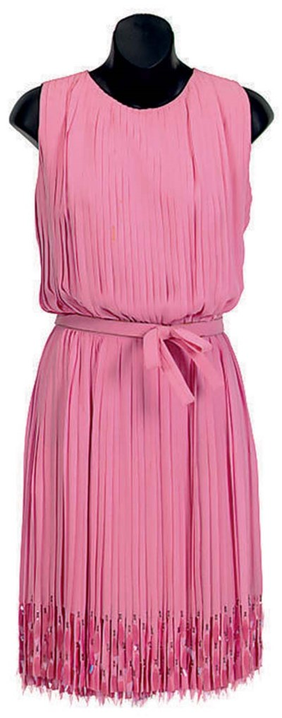 A CHRISTIAN DIOR PINK PLEATED