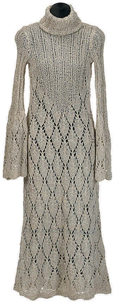 TWO LONG FITTED METALLIC KNIT