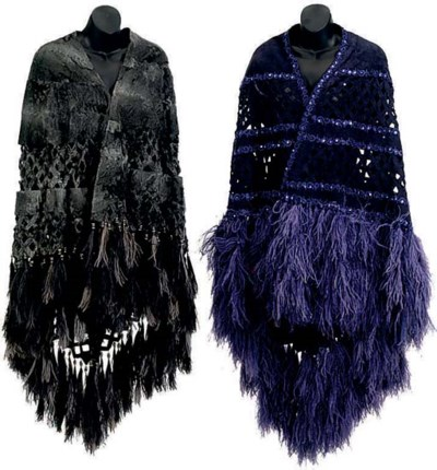 A GREY ASTRAKHAN FUR WRAP AND