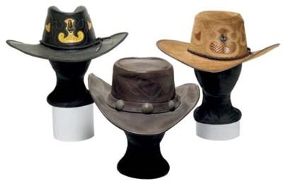 A GROUP OF THREE COWBOY HATS