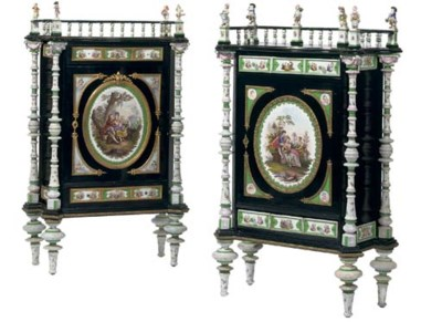 A matched pair of German gilt-