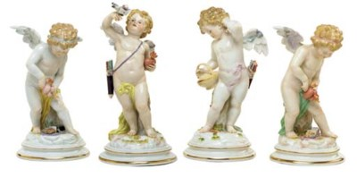 FOUR MEISSEN (OUTSIDE-DECORATE