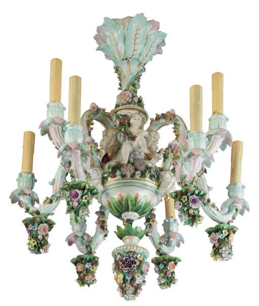 A DRESDEN PORCELAIN FLOWER-ENCRUSTED NINE-LIGHT CHANDELIER | LATE 19TH  CENTURY | All other categories of objects, all other types of objects |  Christie's - A DRESDEN PORCELAIN FLOWER-ENCRUSTED NINE-LIGHT CHANDELIER LATE