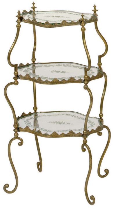 A THREE-TIERED GILT-METAL AND