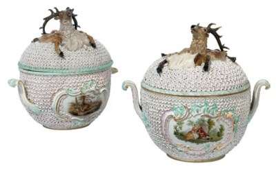 A PAIR OF LARGE MEISSEN PORCEL