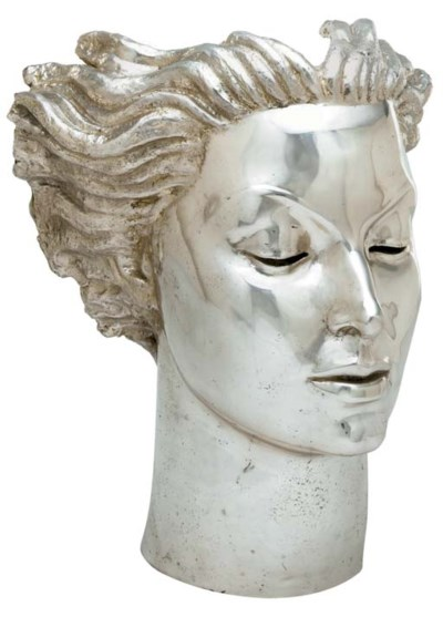 A SILVERED-METAL BUST OF MARÍA