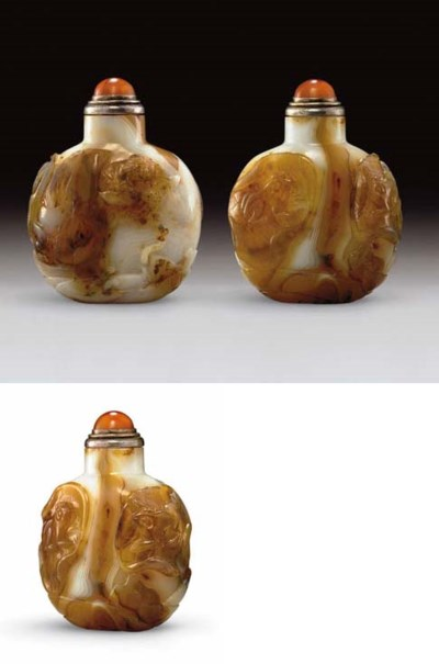 **A WELL-CARVED AGATE SNUFF BO