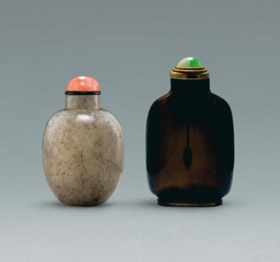 **A GREY JADE SNUFF BOTTLE AND