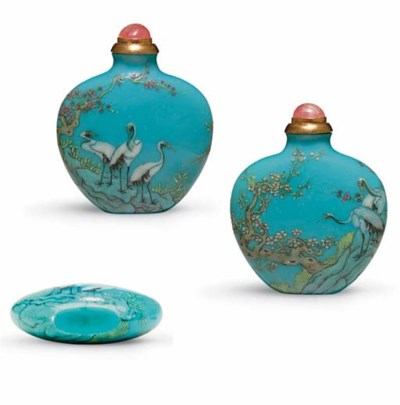**A RARE ENAMELED TURQUOISE-BL