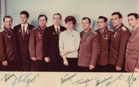 [ASTRONAUTS]. Group photograph of 10 of the earliest Soviet