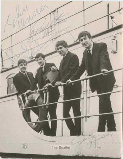 BEATLES. Photograph signed by