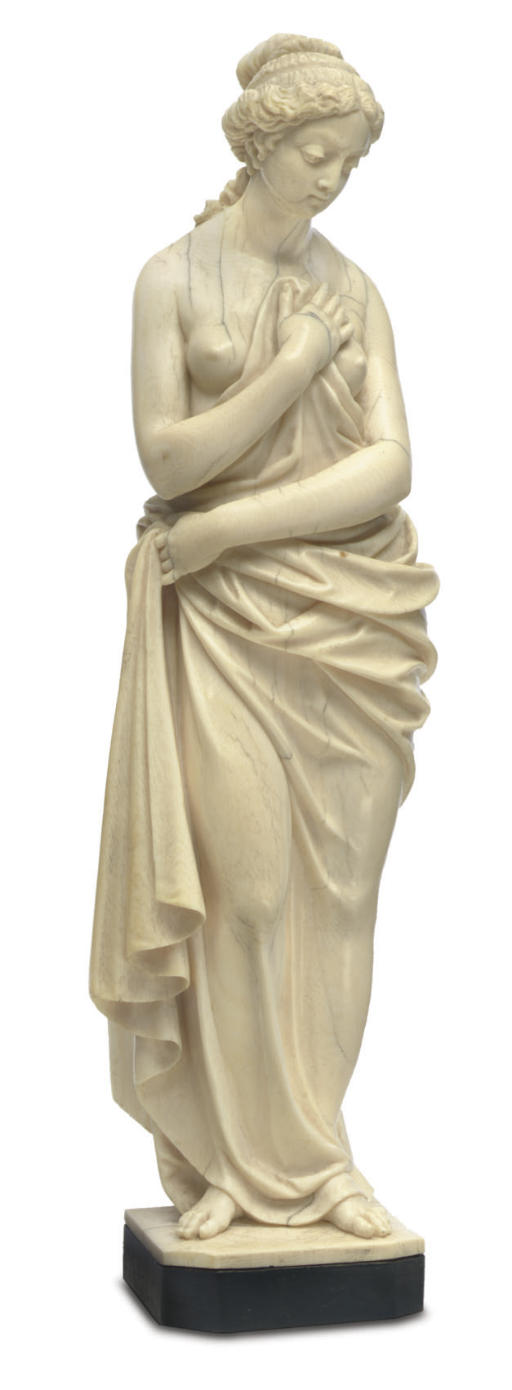 A FRENCH IVORY FIGURE OF A SCA