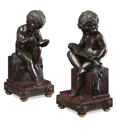 A PAIR OF FRENCH ORMOLU, BRONZ