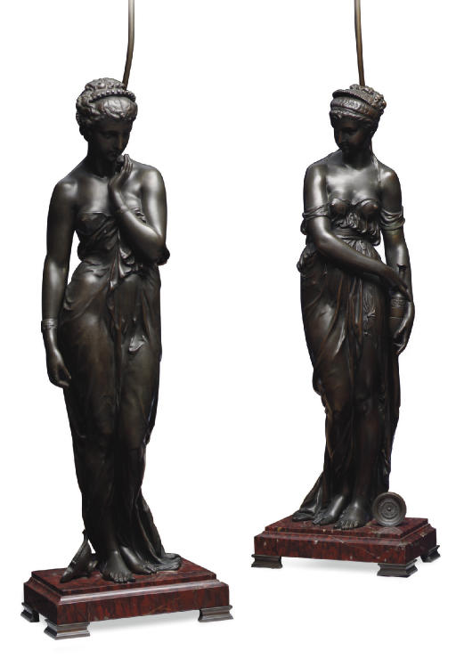 A PAIR OF FRENCH BRONZE-PATINA