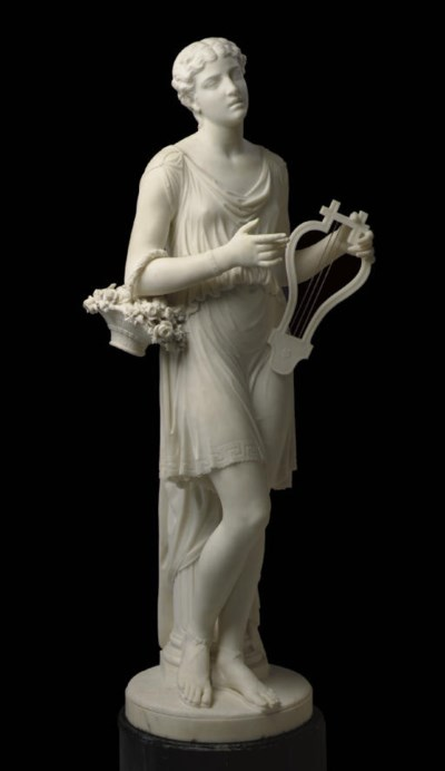 AN AMERICAN MARBLE FIGURE OF S
