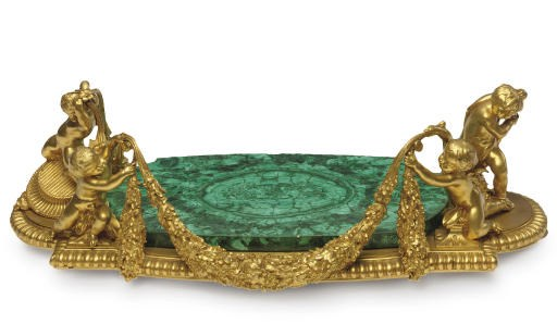 A FRENCH ORMOLU AND MALACHITE