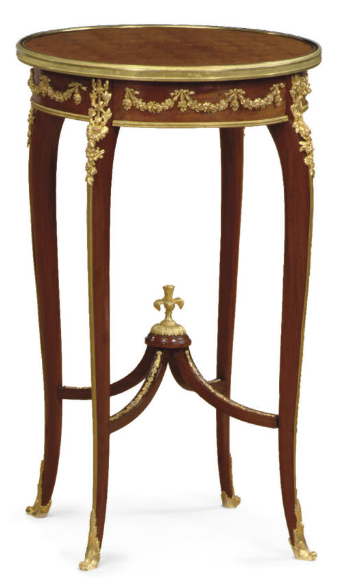 A LOUIS XV STYLE ORMOLU-MOUNTED MAHOGANY AND PARQUETRY GUERIDON